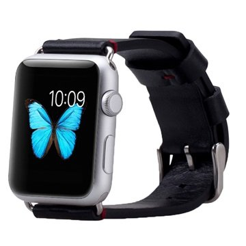 Apple Watch Momax Leather Wristband - 38mm - Black