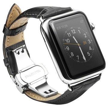 Apple Watch Qialino Leather Wristband - 42mm - Black