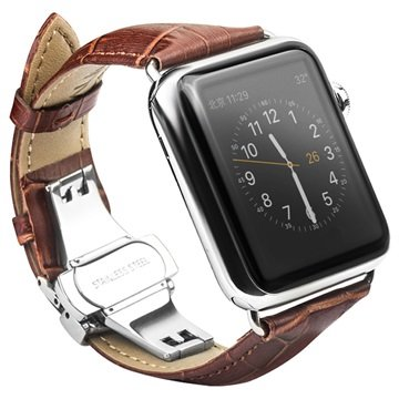 Apple Watch Qialino Leather Wristband - 42mm - Brown