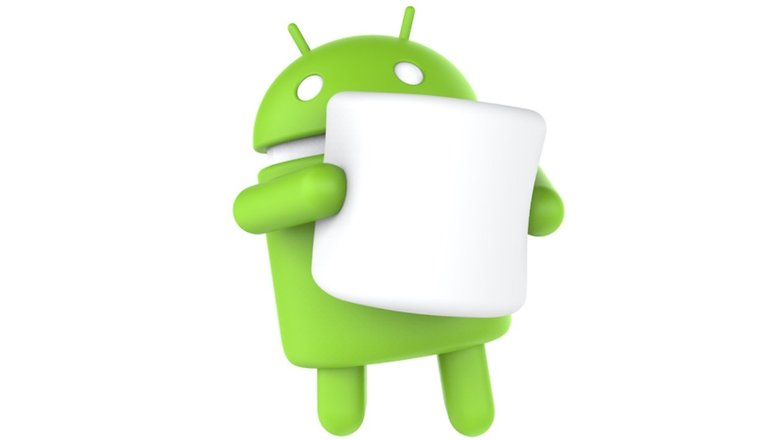 Android logo holding a marshmallow