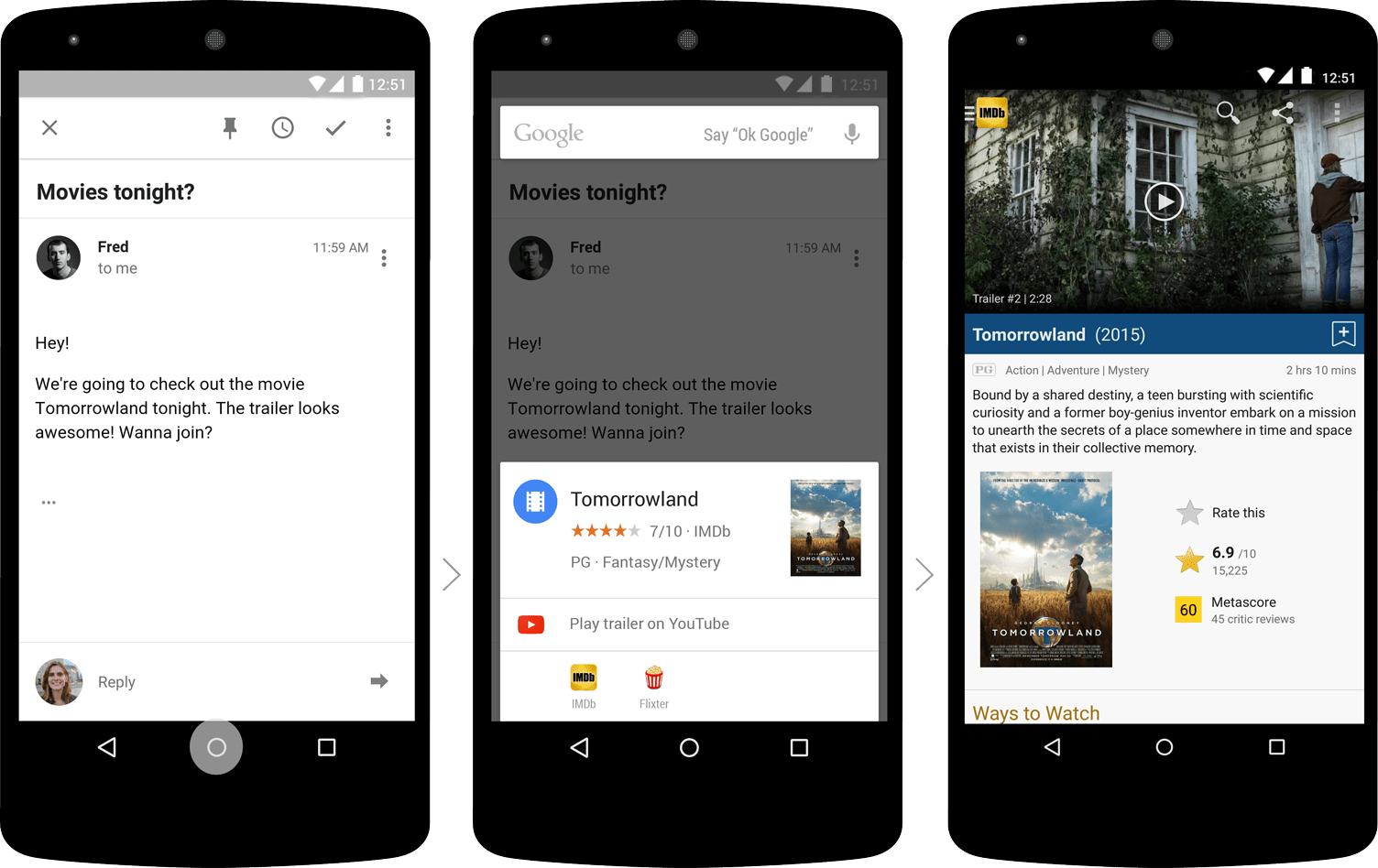 Phones showing Google's new Now on Tap feature