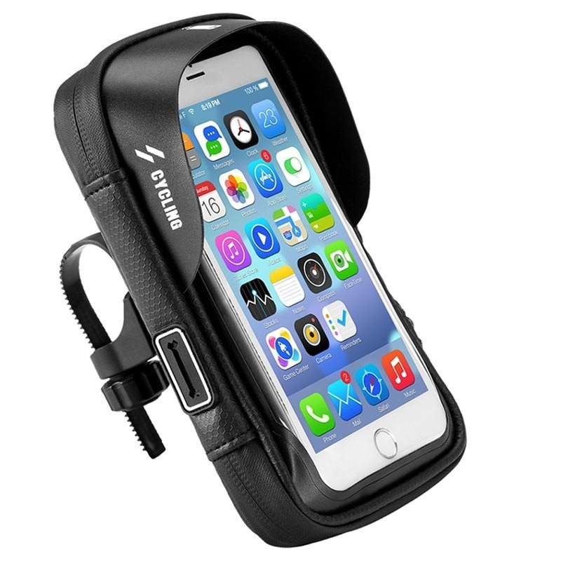 Waterproof bicycle case with phone holder