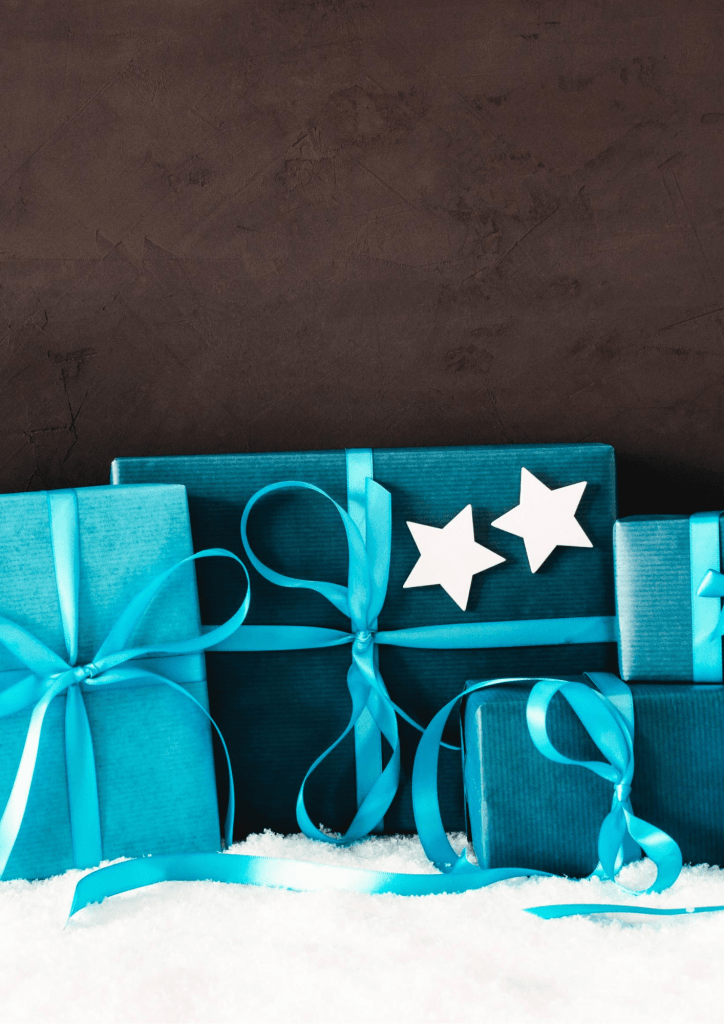 Packed blue gift