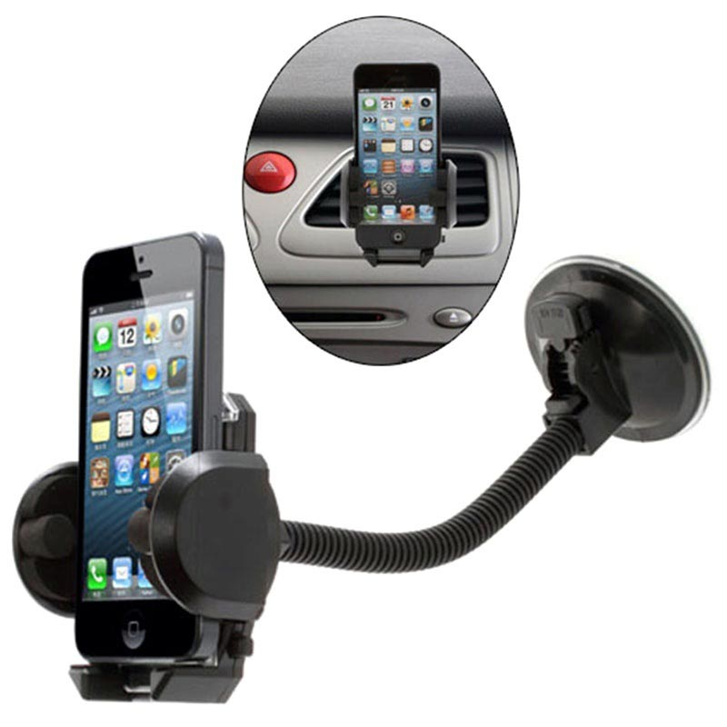 Car phone holder for the windscreen and the fan grille
