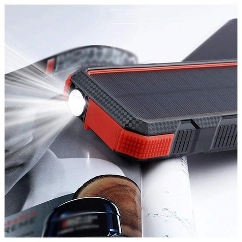 Portable waterproof solar charger with flashlight
