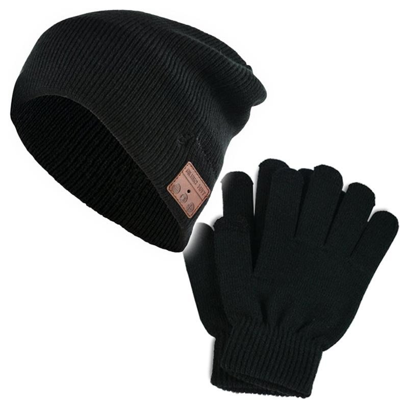 Touchscreen gloves and cap with inbuilt headphones