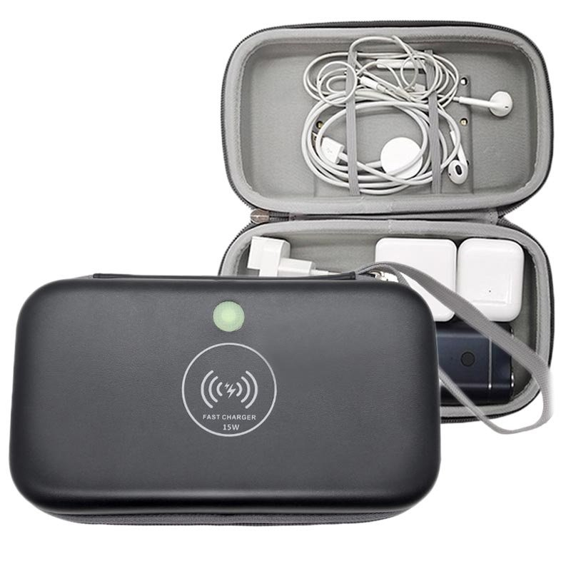 Travel case with wireless charging & UV sterilisator