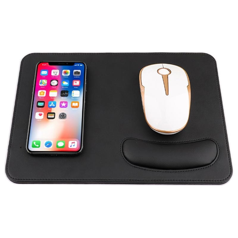 2-in-1 Qi Wireless Charging Mouse Pad w/ Wrist Support