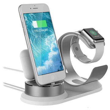3-in-1 Holder / Docking Station for iPhone, AirPods, Apple Watch - Silver