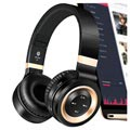 3 in 1 Foldable Mega Bass Bluetooth Headset P6 - Black / Gold