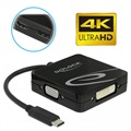 4-in-1 Delock USB-C to HDMI/VGA/DVI/DP 4K Adapter - Black