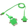 4 in 1 USB Cable - Lightning, 30-pin, MicroUSB 2.0, MicroUSB 3.0 - Green