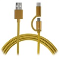 4smarts ComboCord Fabric MicroUSB & Type-C Cable - 1m - Gold