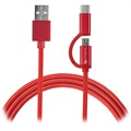 4smarts ComboCord Fabric MicroUSB & Type-C Cable - 1m - Red
