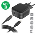 4smarts Fast Wall Charger & Type-C / Lightning Cable - Black