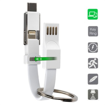 4smarts Keyring 3-in-1 USB Mini Cable - Type-C, Lightning, MicroUSB