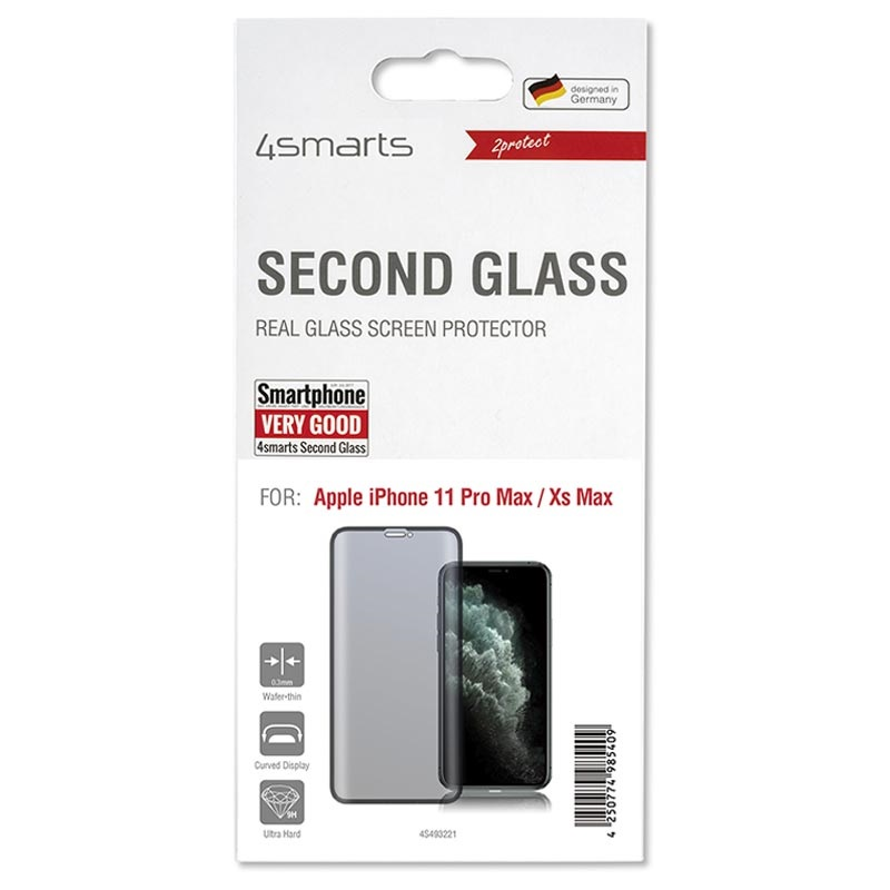 4smarts Curved Glass iPhone XS Max/11 Pro Max Screen Protector - Black