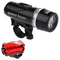 Power Beam WJ-101 5-LED Bike Headlight with Tail Light
