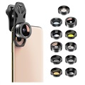 Apexel APL-DG11 11-in-1 Universal Clip-on Camera Lens Kit - Black