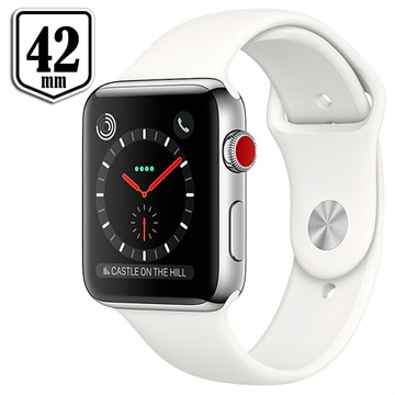 Apple Watch Series 3 LTE MQLY2ZD/A - Stainless Steel, Sport Band, 42mm, 16GB