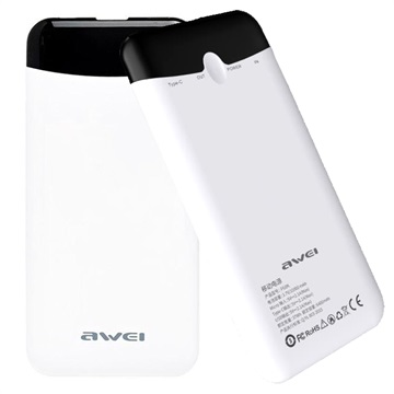 Awei P68K Slim Power Bank with Touch Switch - 10000mAh - White