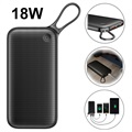 Baseus 20000mAh USB-C PD+QC3.0 Power Bank - 18W - Black