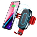 Baseus Gravity Air Vent Car Holder / Qi Wireless Charger - Red