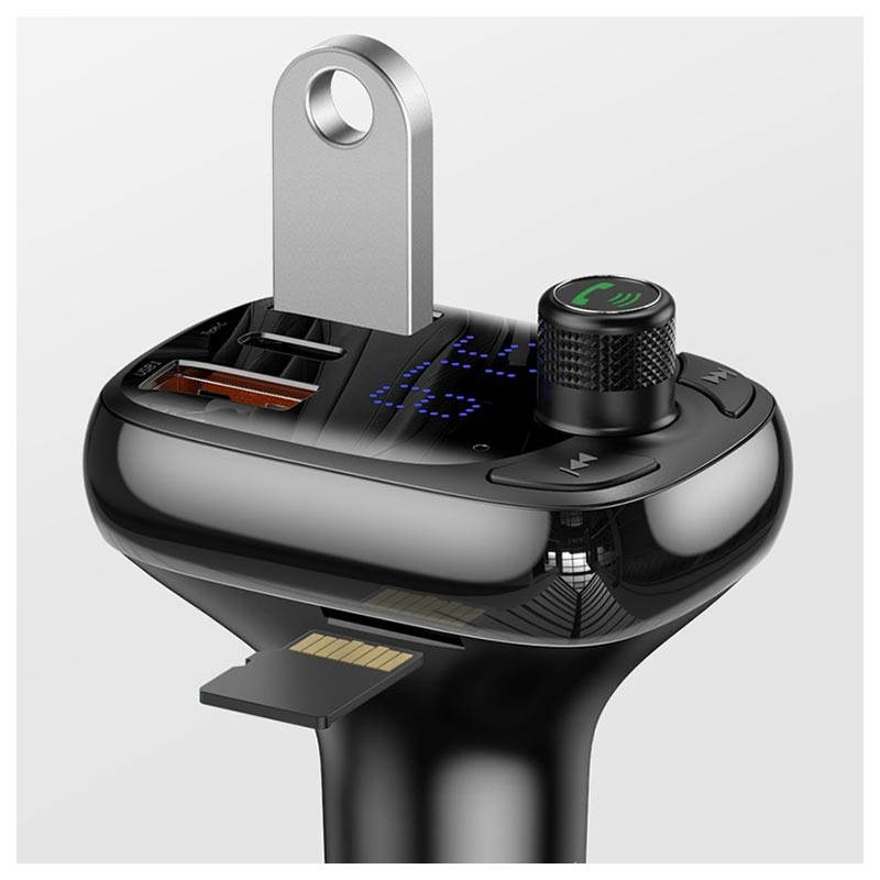 Baseus S-13 T-Type FM Transmitter / Car Charger CCTM-B01 - Black