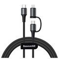 Baseus Twins 2-in-1 USB-C / USB-C And Lightning Cable CATLYW-H01 - 1m - Black