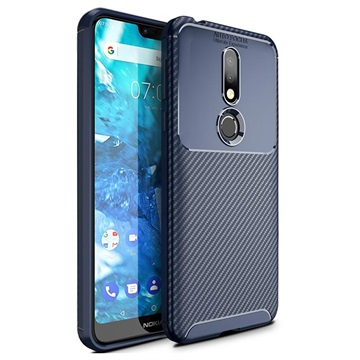 Beetle Carbon Fiber Nokia 7.1 Case - Blue