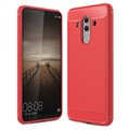 Huawei Mate 10 Pro Brushed TPU Cover - Carbon Fiber - Red