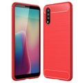 Huawei P20 Brushed TPU Case - Carbon Fiber - Red