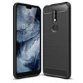 Nokia 7.1 Brushed TPU Case - Carbon Fiber - Black