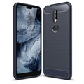 Nokia 7.1 Brushed TPU Case - Carbon Fiber - Dark Blue