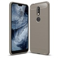 Nokia 7.1 Brushed TPU Case - Carbon Fiber - Grey