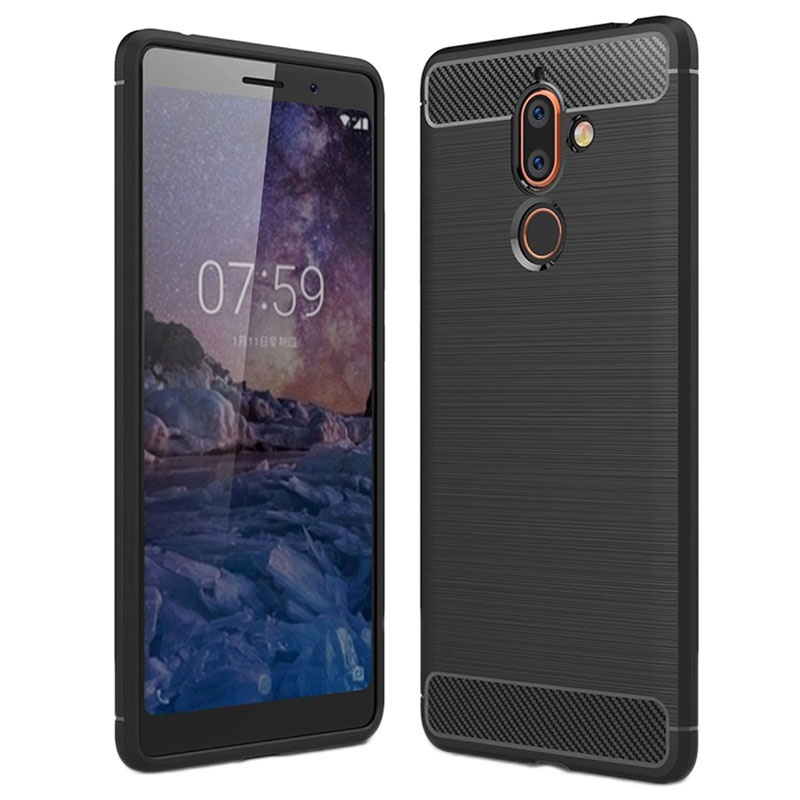 Nokia 7 Plus Brushed TPU Case - Carbon Fiber