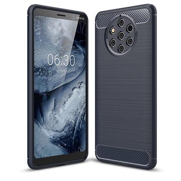 Brushed TPU Nokia 9 PureView Cover - Carbon Fiber - Dark Blue