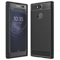 Sony Xperia XA2 Brushed TPU Case - Carbon Fiber - Black