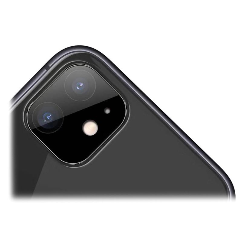 iPhone 11 Camera Lens Metal & Tempered Glass Protector - Black
