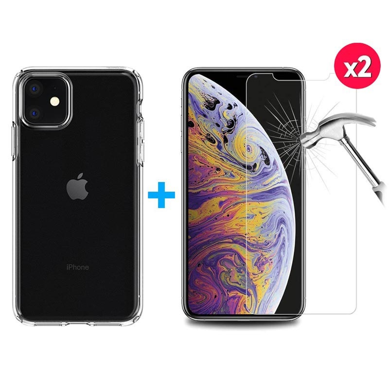 iPhone 11 Case w/ 2x Tempered Glass Screen Protector