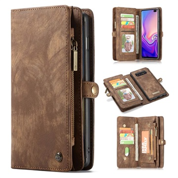 CaseMe 2-in-1 Multifunctional Samsung Galaxy S10+ Wallet Case - Brown