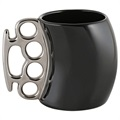 Ceramic Brass Knuckles Cup / Coffee Mug - Silver / Black