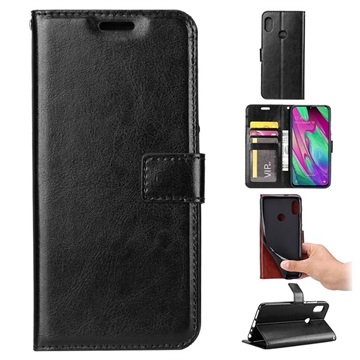 Classic Series Samsung Galaxy A40 Wallet Case - Black