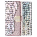 Croco Bling Samsung Galaxy A50 Wallet Case - Silver