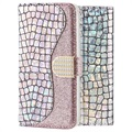 Croco Bling Samsung Galaxy A70 Wallet Case - Silver