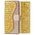 Croco Bling iPhone XR Wallet Case - Gold