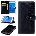 Huawei Enjoy 6s, Honor 6c Crocodile Wallet Case - Black