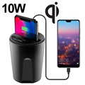 Cup Holder Fast Qi Wireless Car Charger X8 - 10W - Black