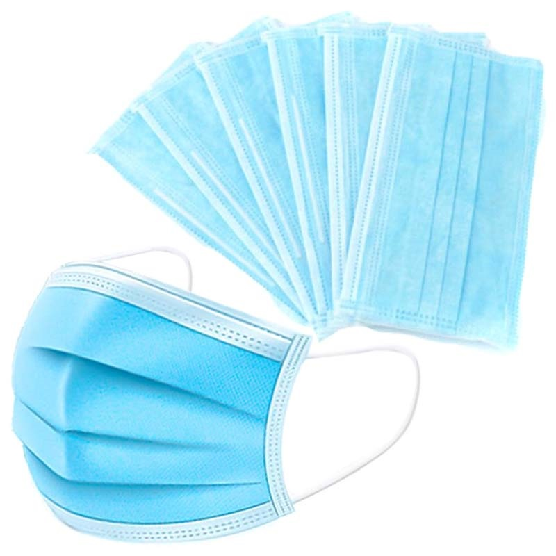 Blue Smoke US Stock 50Pcs Disposable 3 Layers Face Equipment with Earloops Protective for Pollen Dust