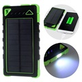 Dual USB Water-resistant Solar Charger / Power Bank - Green